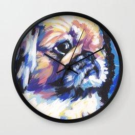 Fun Pekingese Dog Portrait bright colorful Pop Art Wall Clock