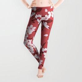 Sakura on red background Leggings