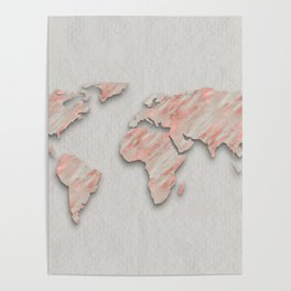 Rose Gold Marble World Map on paper Poster