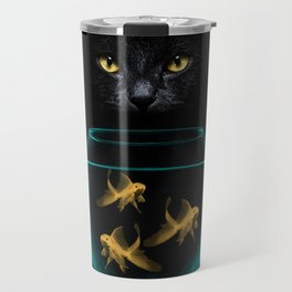 Black Cat Goldfish Travel Mug