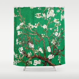 Vincent van Gogh Blossoming Almond Tree (Almond Blossoms) Emerald Sky Shower Curtain