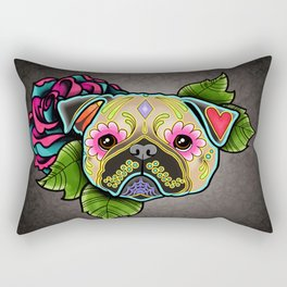 Pug in Fawn - Day of the Dead Sugar Skull Dog Rectangular Pillow