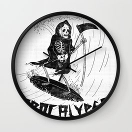 Surf Now, Apocalypse Later Wall Clock