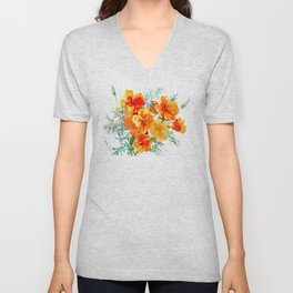 California Poppy Unisex V-Neck