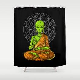Space Alien Buddha Zen Yoga Meditation Shower Curtain