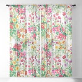 Spring blossom paint pattern Sheer Curtain