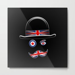British Flag Face. Metal Print