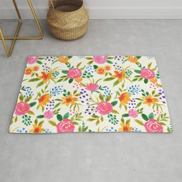 Spring Burst Watercolor Floral Pattern - White  Rug
