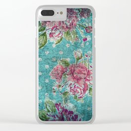 Antique flower pattern Clear iPhone Case