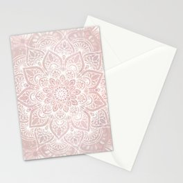 Mandala Yoga Love, Blush Pink Floral Stationery Cards