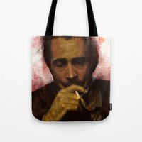 true detective Tote Bags featuring True Detective - Ray Velcoro by p1xer