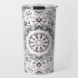 Dreamer Mandala White On Rose Gold Travel Mug