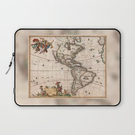 North & South America map 1658 with 2017 enhancements Laptop Sleeve