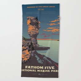 Fathom Five National Park Poster (Flowerpot Island) Beach Towel
