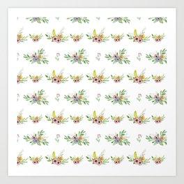 Modern coral yellow green watercolor cute flowers Art Print
