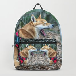 Shiba Inu yelling in the woods Backpack