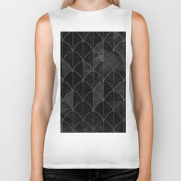 Mermaid scales in black and white. Biker Tank