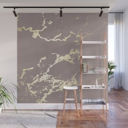 Kintsugi Ceramic Gold on Red Earth Wall Mural