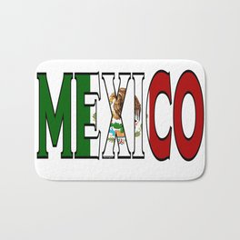 Mexico Font with Mexican Flag Bath Mat