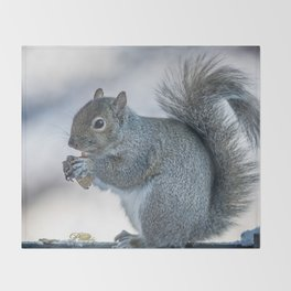 Winter squirrel Throw Blanket