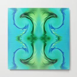 Abstract Turquoise and Green Design 757 Metal Print