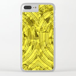 psychedelic geometric circle pattern abstract background in yellow Clear iPhone Case
