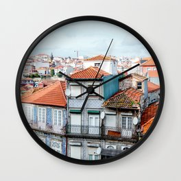 Traditional houses of Porto, with Clérigos Tower far in the distance. Wall Clock
