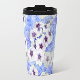 WHITE   FLORALS WITH BLUE FLOWERS Travel Mug