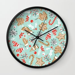 Gingerbread Dreams - Aqua Wall Clock