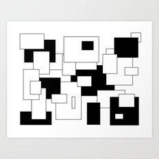 Squares - black and white. Art Print