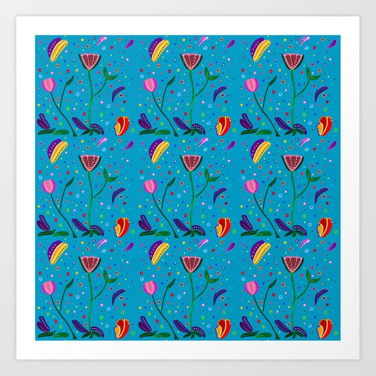 Flowers at Dusk, original art, repeated Art Print