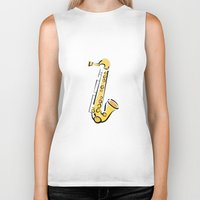 saxophone Biker Tanks featuring Saxophone Sax by shopaholic chick