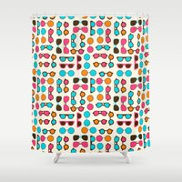 sunglasses Shower Curtains featuring Sunglasses by Valendji