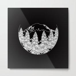 Mt. Rainier     Black Metal Print