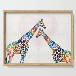 Colorful Giraffe Art - I've Got Your Back - By Sharon Cummings Serving Tray