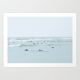 Tiny Surfers in Lima Illustrated Art Print