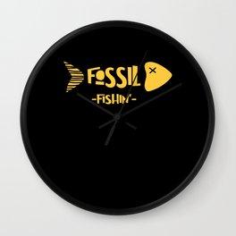 Paleontology Fossil Fishin Trend Motif Wall Clock