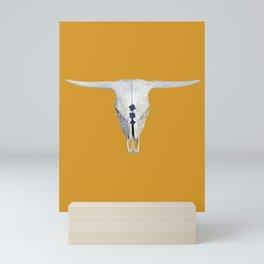 Highland Cattle Skull on Mustard Yellow with Navy Mini Art Print