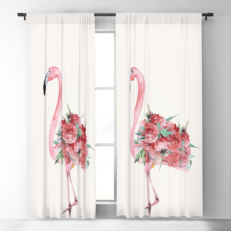 Flamingo Floral Blackout Curtain By Nadja1 Society6