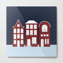 Red Houses in Snow Metal Print