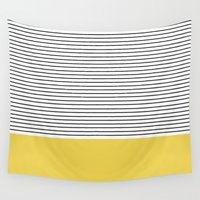 allyson johnson Wall Tapestries featuring MINIMAL Green Stripes by Allyson Johnson