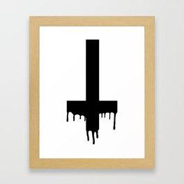 Black Dripping Cross Framed Art Print