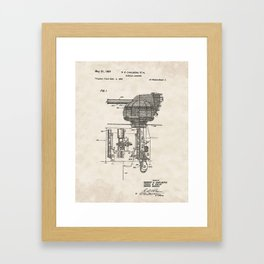 Missile Launcher Vintage Patent Hand Drawing Framed Art Print