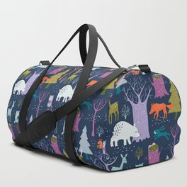 winter woodland animals Duffle Bag