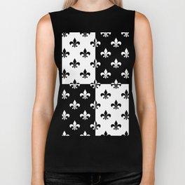 Black & white royal lilies (chessboard) Biker Tank