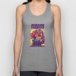 Robot Invasion Sci Fi Madness in Color Unisex Tank Top