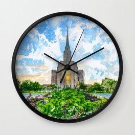 Oquirrh Mountain LDS Temple Watercolor - Summer Wall Clock