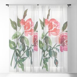 3 watercolor roses Sheer Curtain