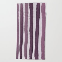Rosy Stripe Abstract Painting Beach Towel
