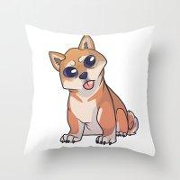 shiba inu Throw Pillows featuring Shiba Inu by Suzanne Annaars